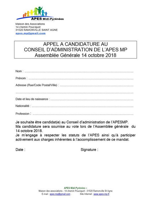 Appel candidature AG