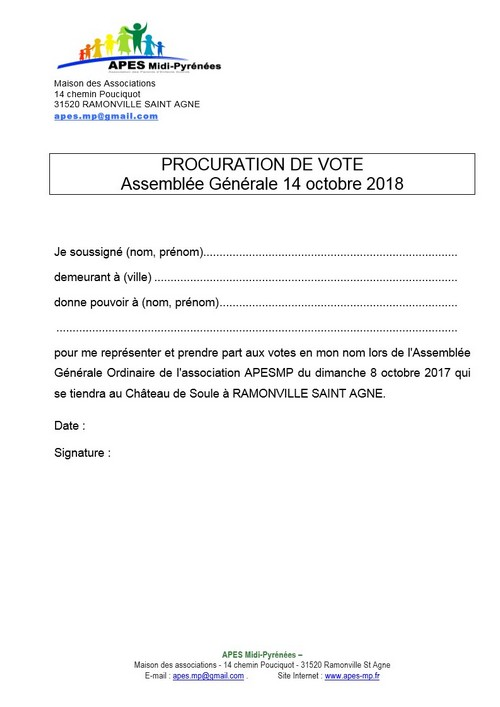 Procuration vote AG